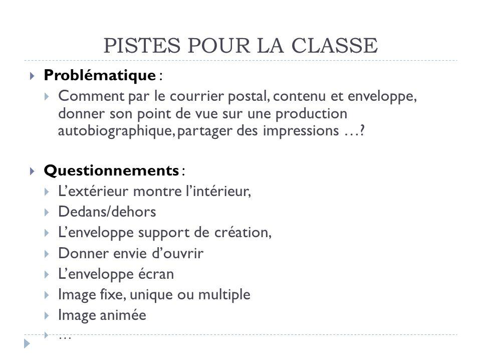 PISTES POUR LA CLASSE Problématique :