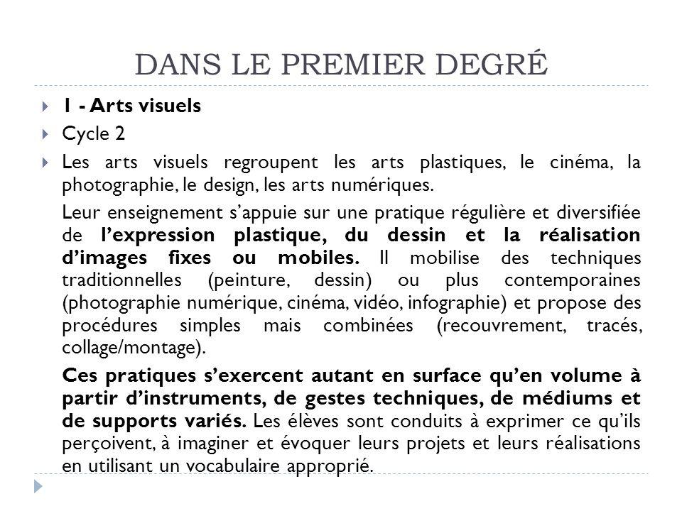 DANS LE PREMIER DEGRÉ 1 - Arts visuels Cycle 2