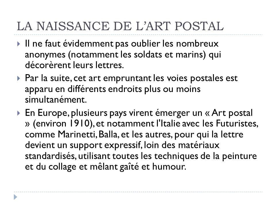 LA NAISSANCE DE L'ART POSTAL