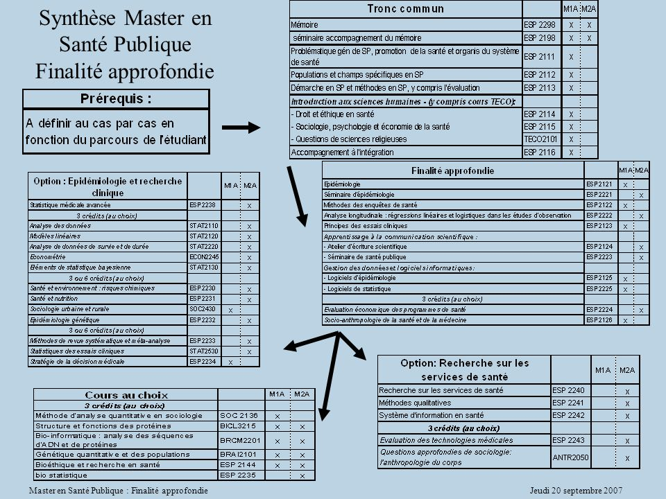 Synthèse Master en Santé Publique Finalité approfondie
