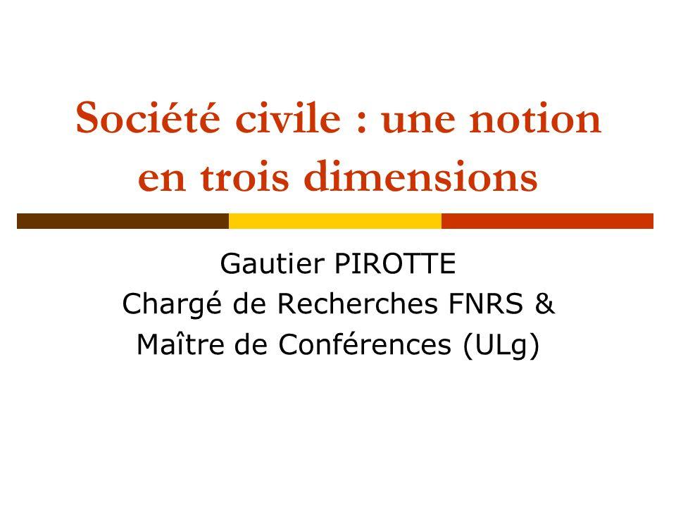 Société civile : une notion en trois dimensions