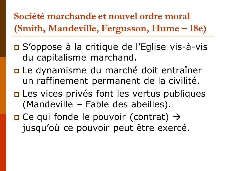 Société marchande et nouvel ordre moral (Smith, Mandeville, Fergusson, Hume – 18e)