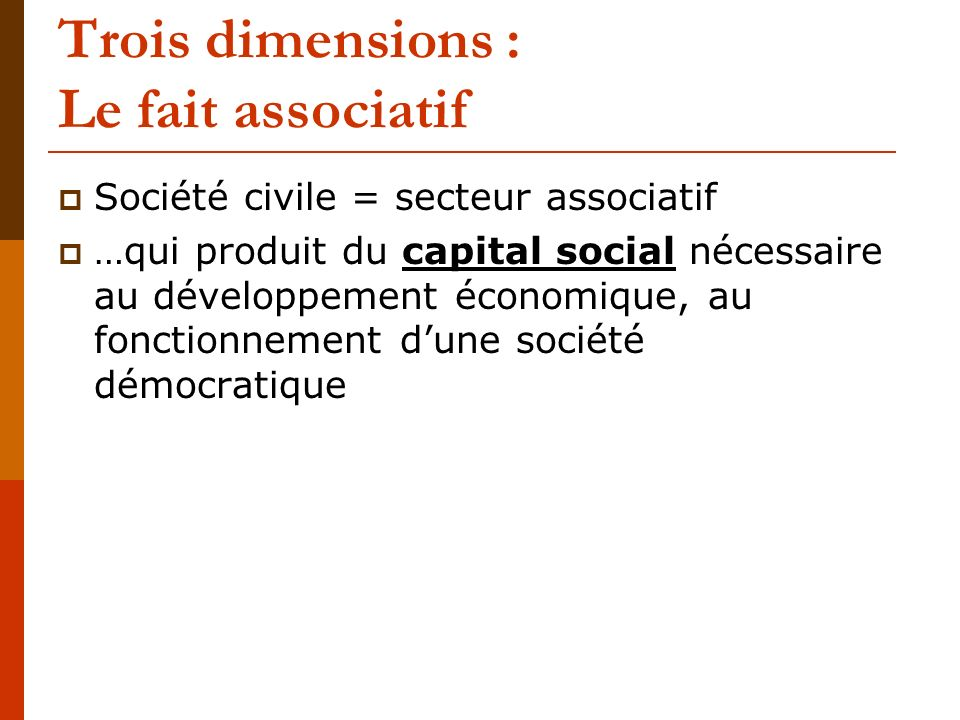 Trois dimensions : Le fait associatif