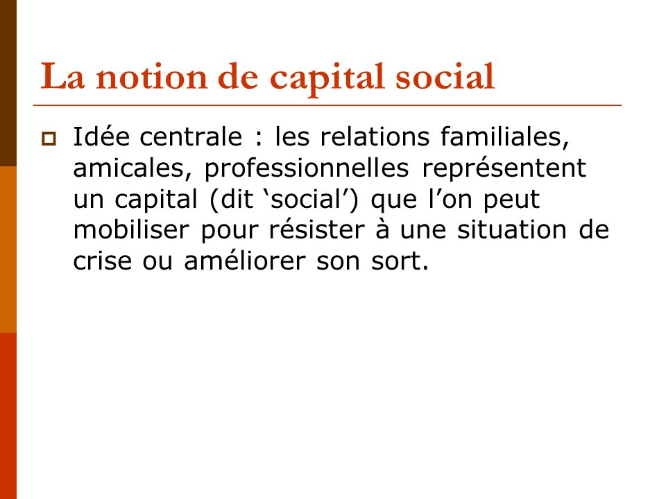 La notion de capital social