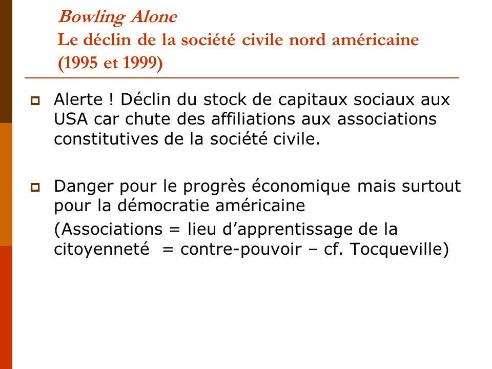 Bowling Alone Le déclin de la société civile nord américaine (1995 et 1999)