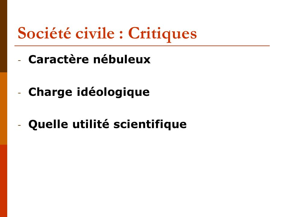 Société civile : Critiques