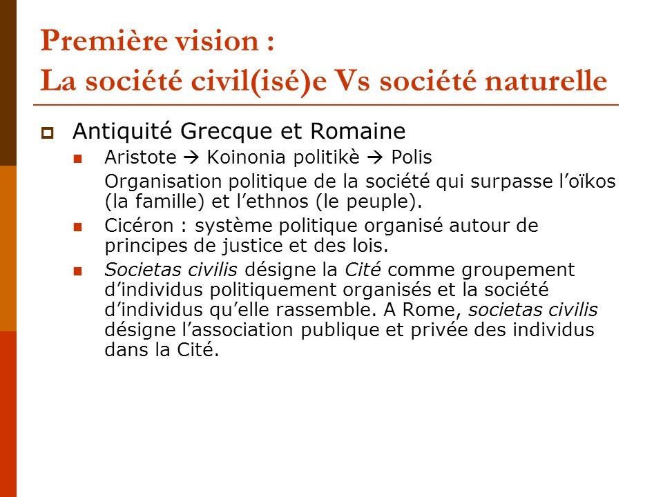 Première vision : La société civil(isé)e Vs société naturelle