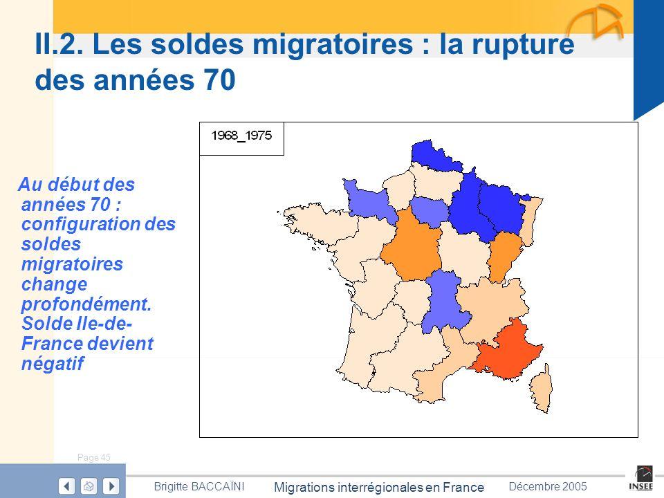II.2. Les soldes migratoires : la rupture des années 70