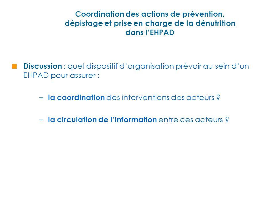 Coordination des actions de prévention, dépistage et prise en charge de la dénutrition dans l'EHPAD