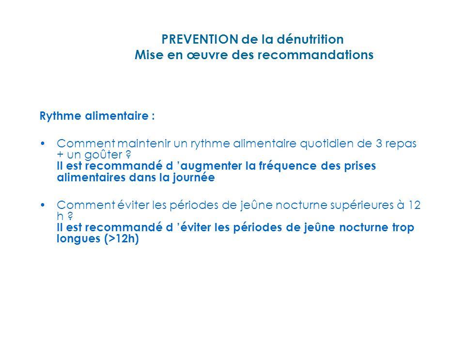 PREVENTION de la dénutrition Mise en œuvre des recommandations