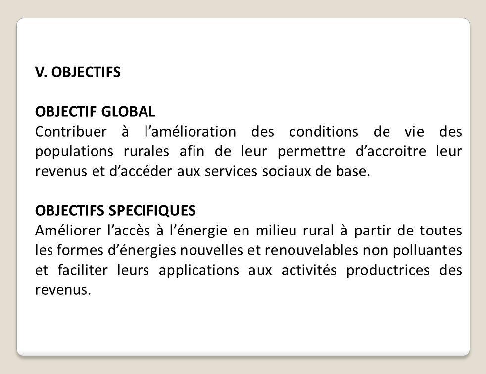 V. OBJECTIFS OBJECTIF GLOBAL.
