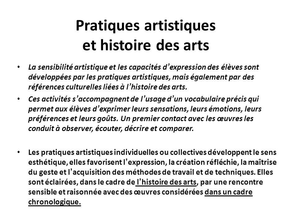 Pratiques artistiques et histoire des arts