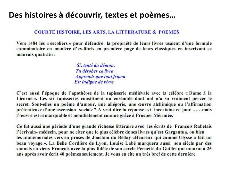 Des histoires à découvrir, textes et poèmes…