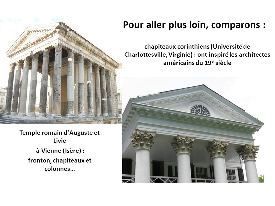 Temple romain d'Auguste et Livie fronton, chapiteaux et colonnes…