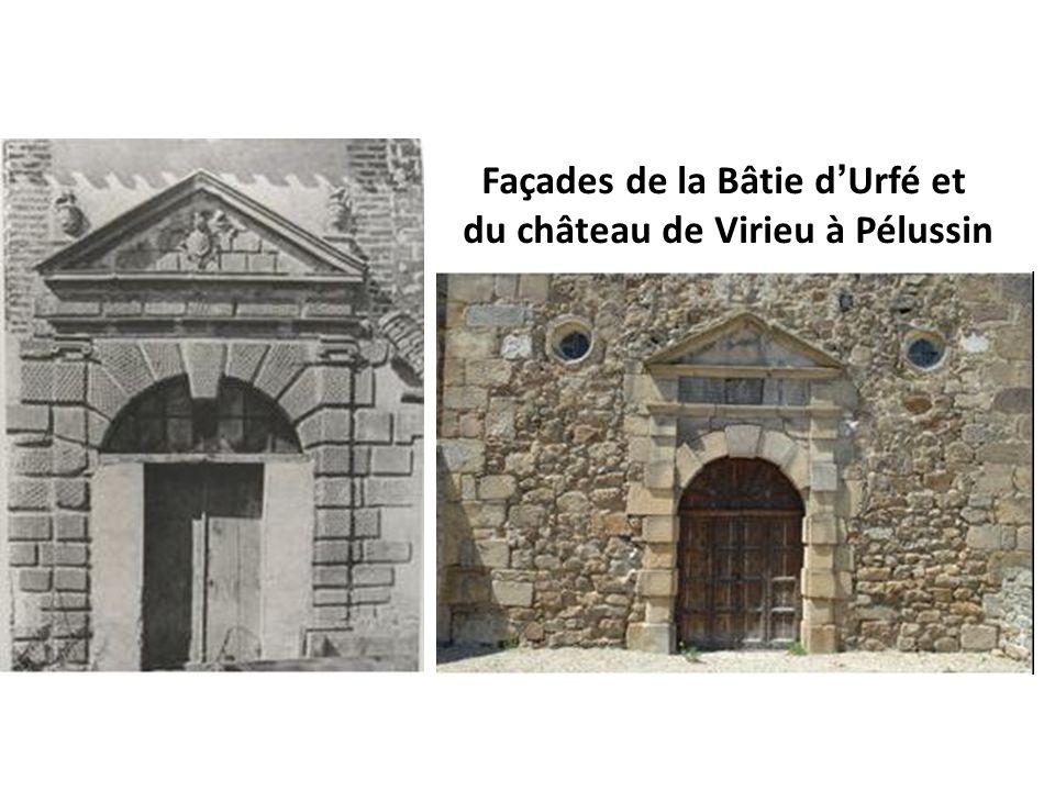 Façades de la Bâtie d'Urfé et du château de Virieu à Pélussin