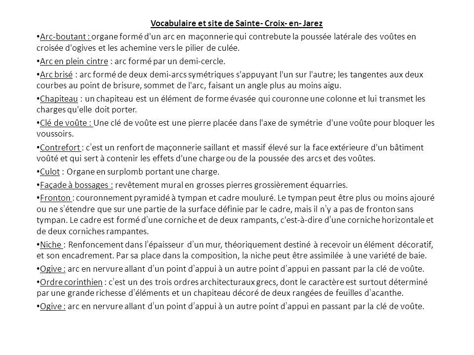 Vocabulaire et site de Sainte- Croix- en- Jarez