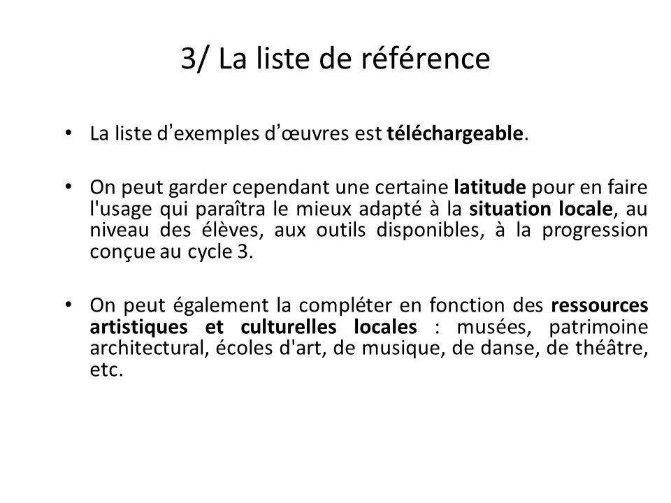 3/ La liste de référence La liste d'exemples d'œuvres est téléchargeable.
