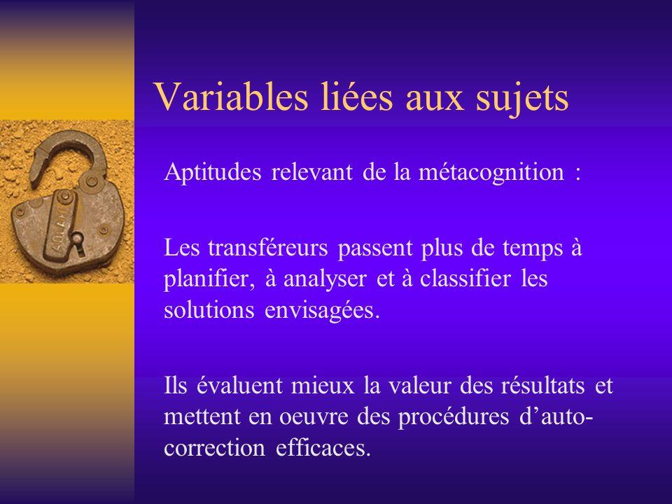 Variables liées aux sujets