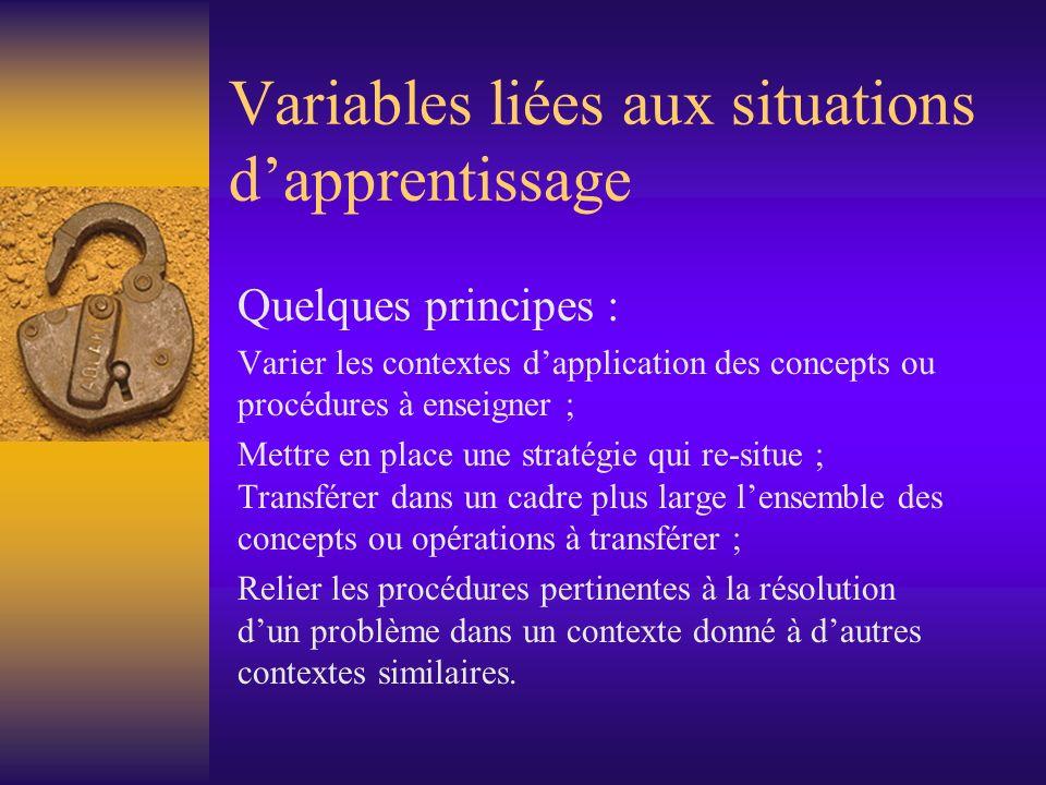 Variables liées aux situations d'apprentissage