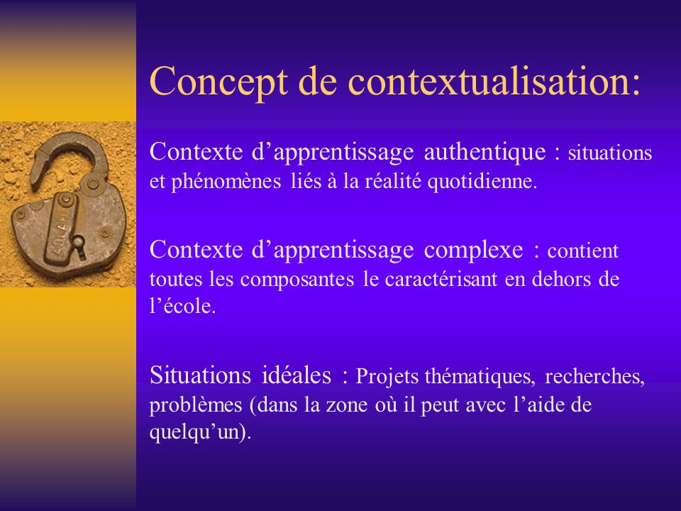 Concept de contextualisation: