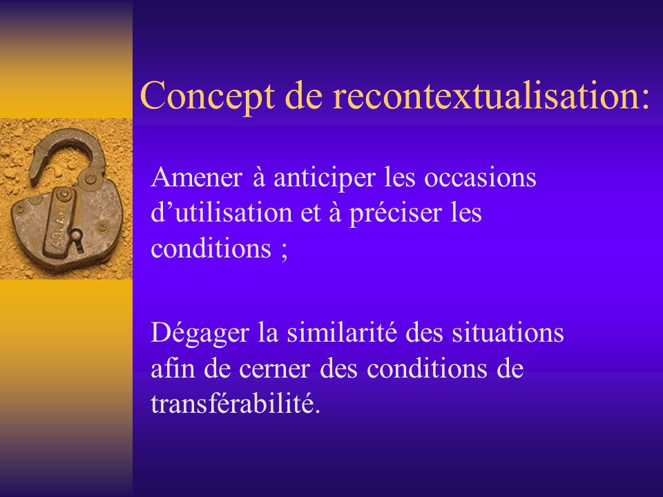 Concept de recontextualisation: