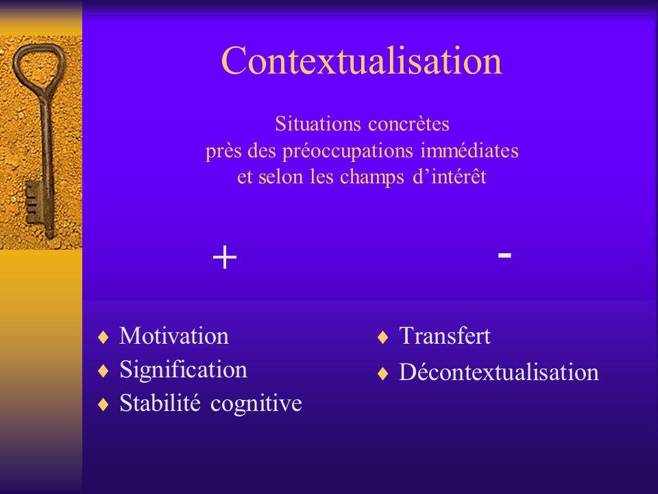 Contextualisation Situations concrètes près des préoccupations immédiates et selon les champs d'intérêt