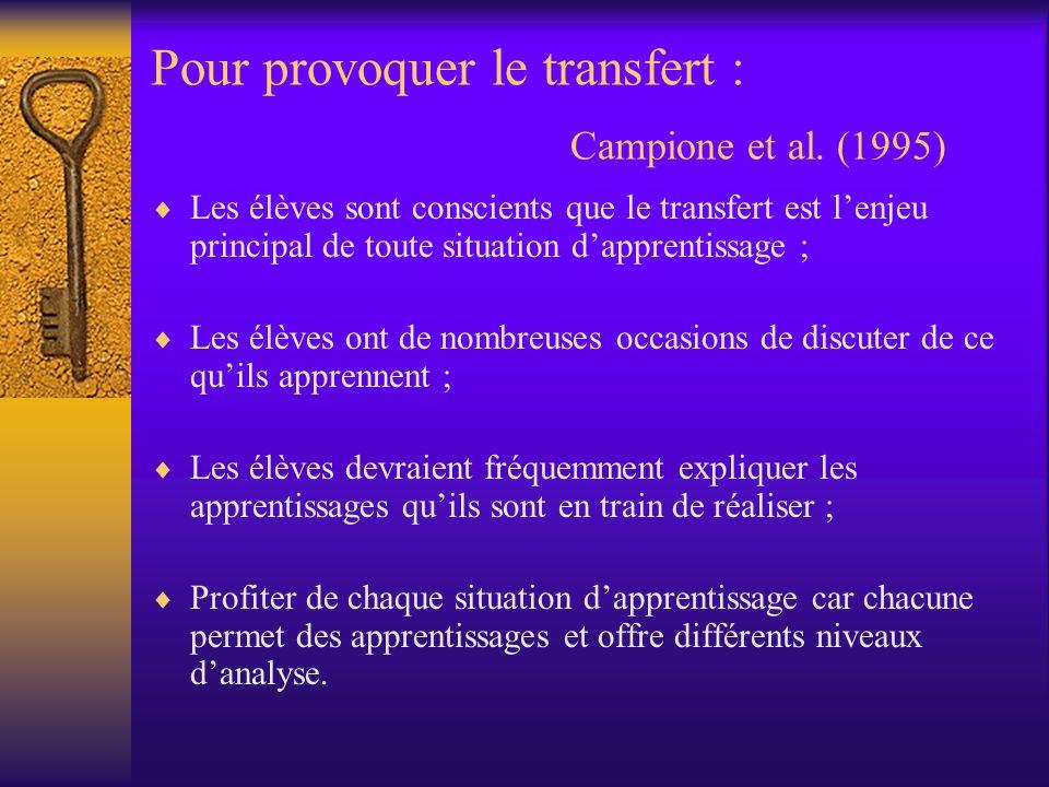 Pour provoquer le transfert : Campione et al. (1995)