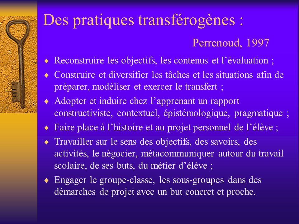 Des pratiques transférogènes : Perrenoud, 1997