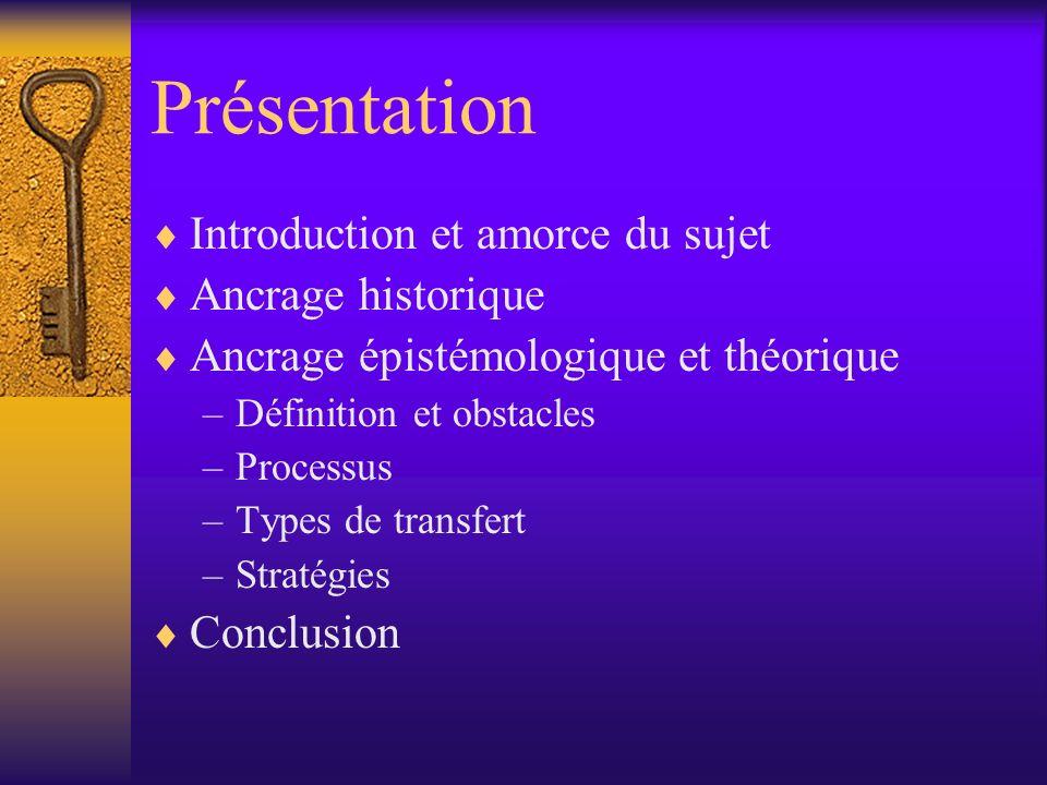 Présentation Introduction et amorce du sujet Ancrage historique