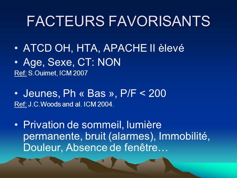 FACTEURS FAVORISANTS ATCD OH, HTA, APACHE II èlevé Age, Sexe, CT: NON
