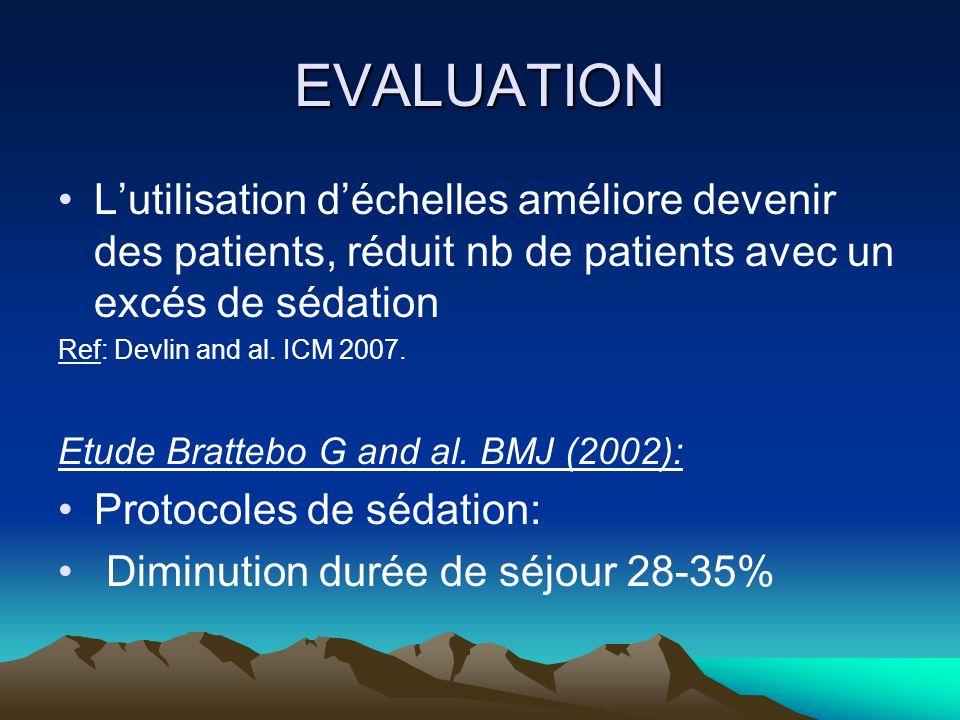 EVALUATION L'utilisation d'échelles améliore devenir des patients, réduit nb de patients avec un excés de sédation.