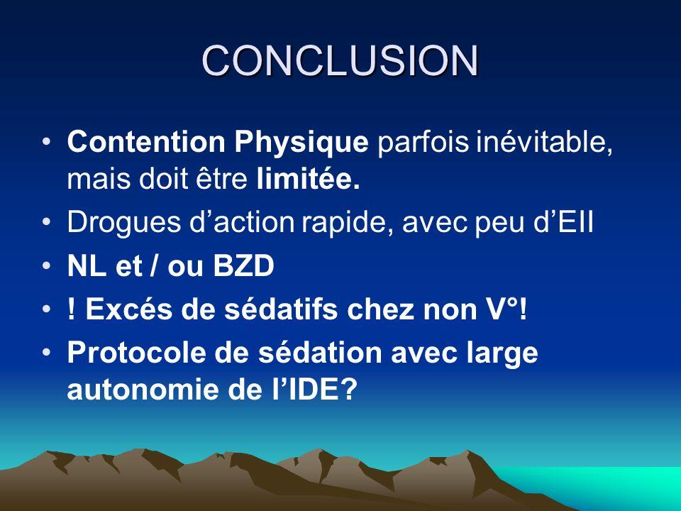 CONCLUSION Contention Physique parfois inévitable, mais doit être limitée. Drogues d'action rapide, avec peu d'EII.