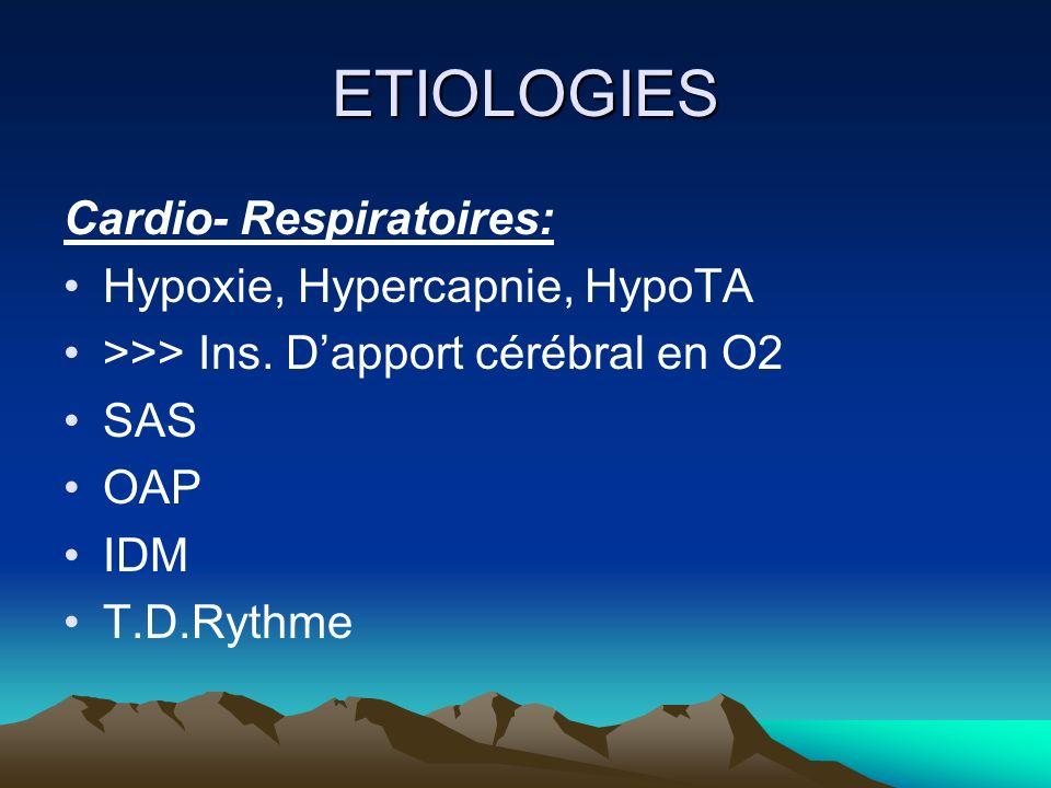 ETIOLOGIES Cardio- Respiratoires: Hypoxie, Hypercapnie, HypoTA