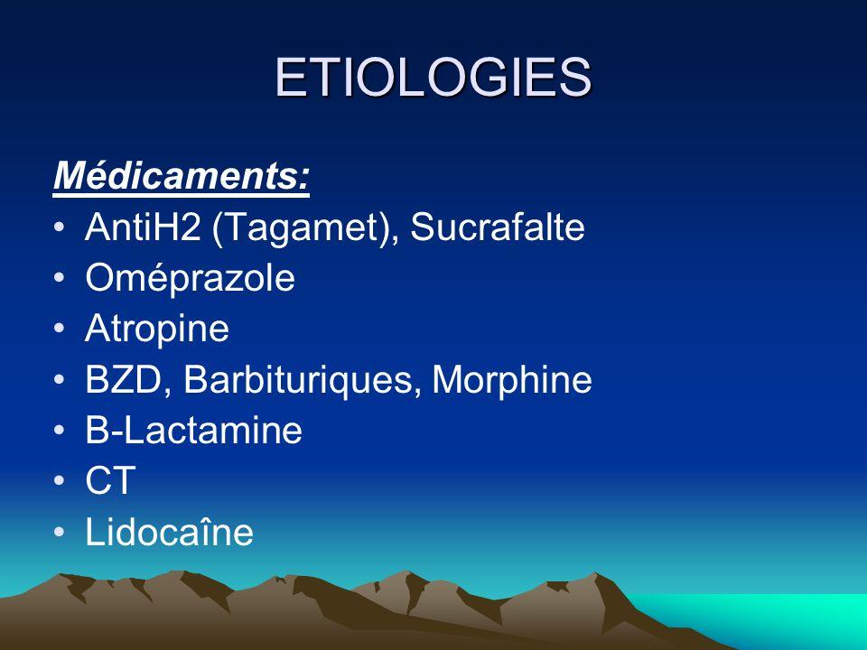 ETIOLOGIES Médicaments: AntiH2 (Tagamet), Sucrafalte Oméprazole