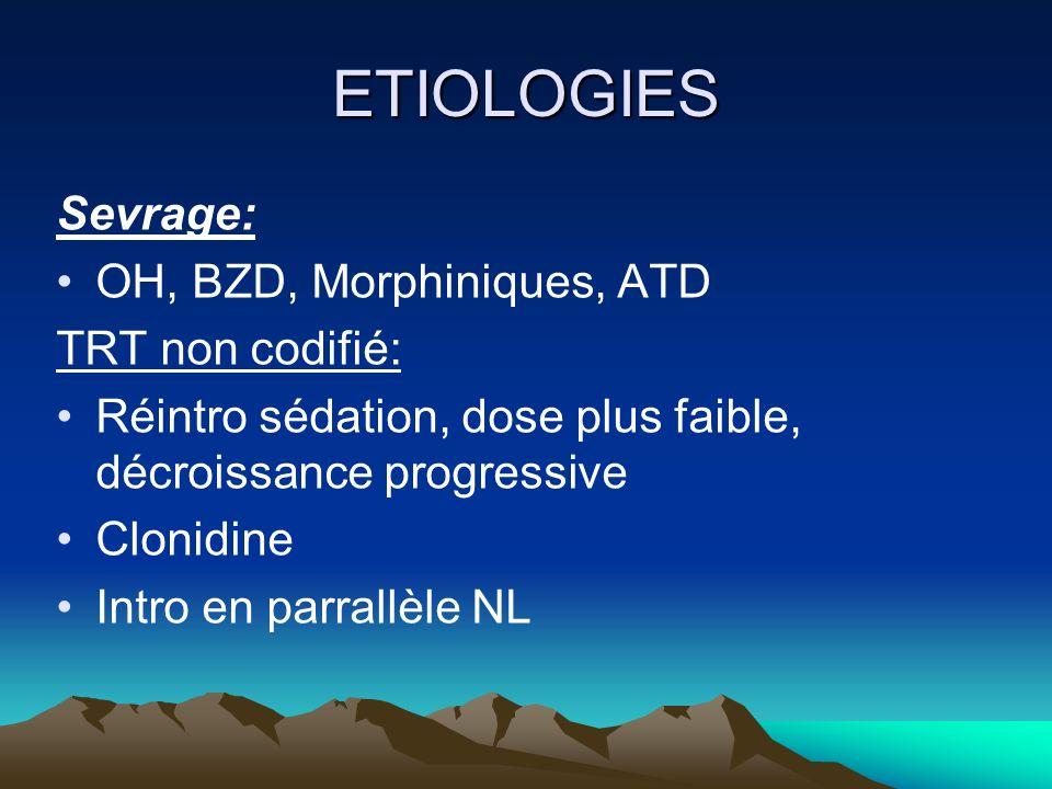 ETIOLOGIES Sevrage: OH, BZD, Morphiniques, ATD TRT non codifié: