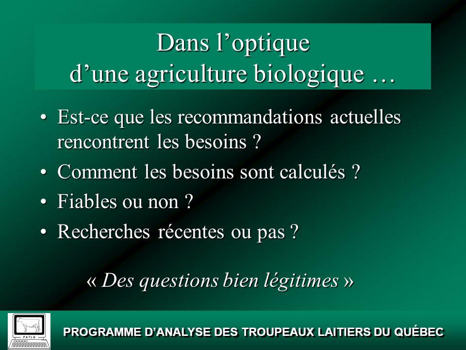 Dans l'optique d'une agriculture biologique …