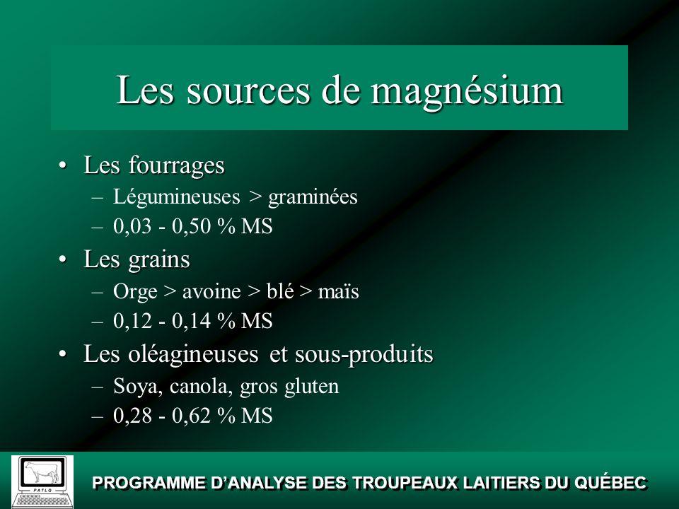 Les sources de magnésium