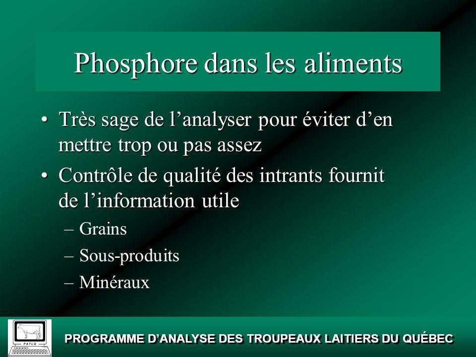 Phosphore dans les aliments
