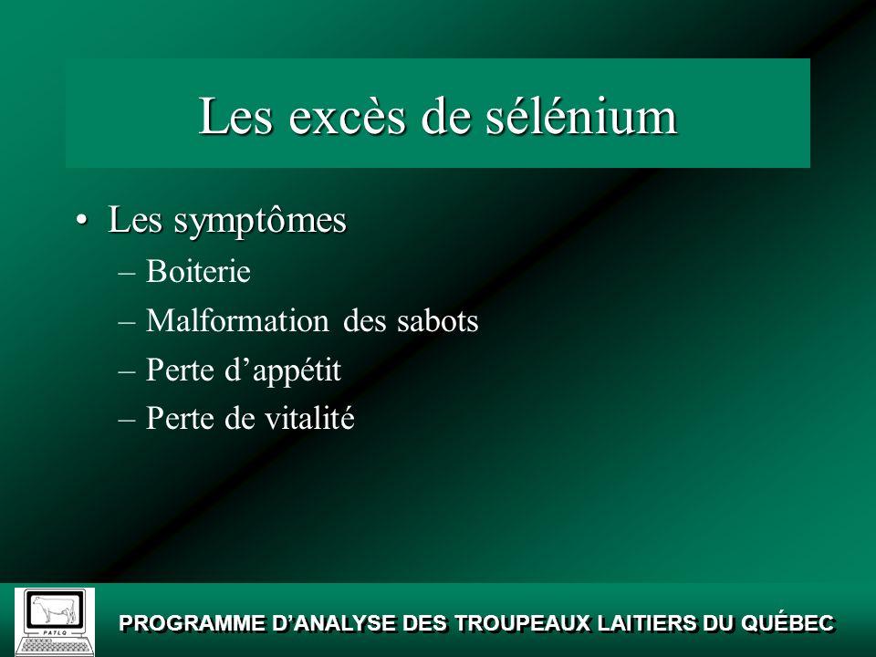Les excès de sélénium Les symptômes Boiterie Malformation des sabots