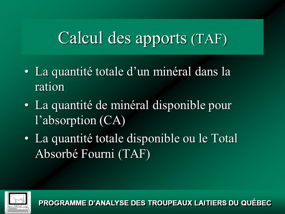 Calcul des apports (TAF)