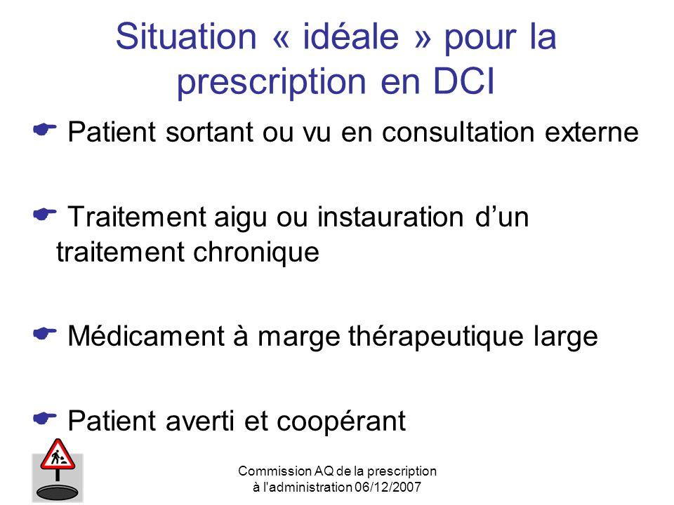 Situation « idéale » pour la prescription en DCI