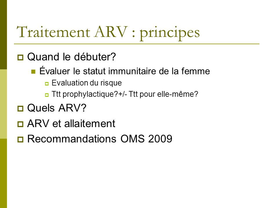 Traitement ARV : principes