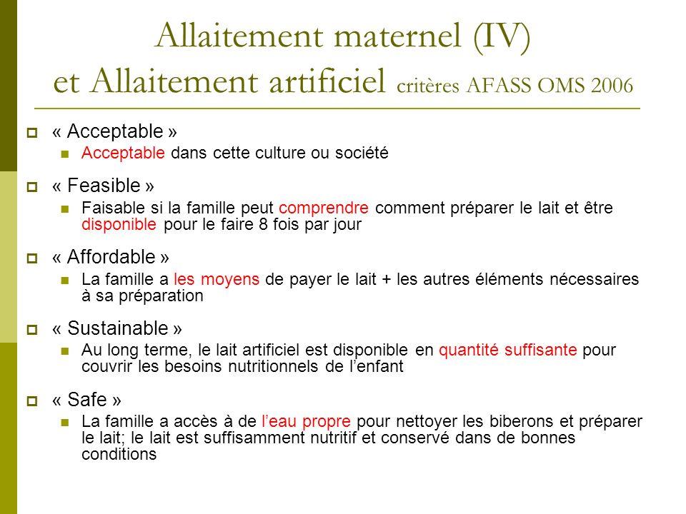 Allaitement maternel (IV) et Allaitement artificiel critères AFASS OMS 2006