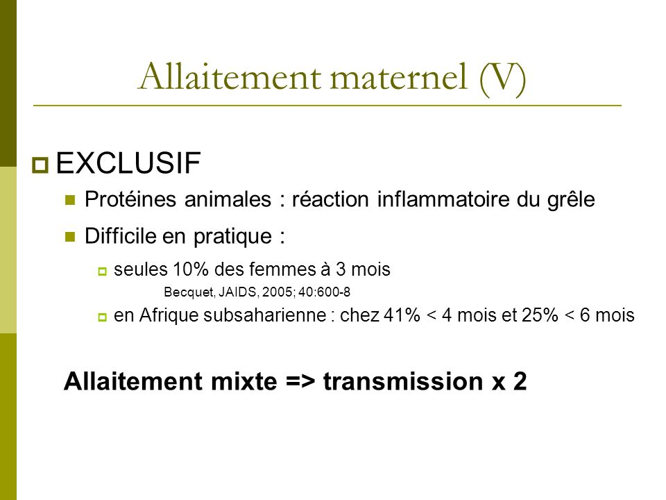 Allaitement maternel (V)