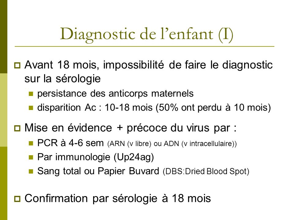 Diagnostic de l'enfant (I)
