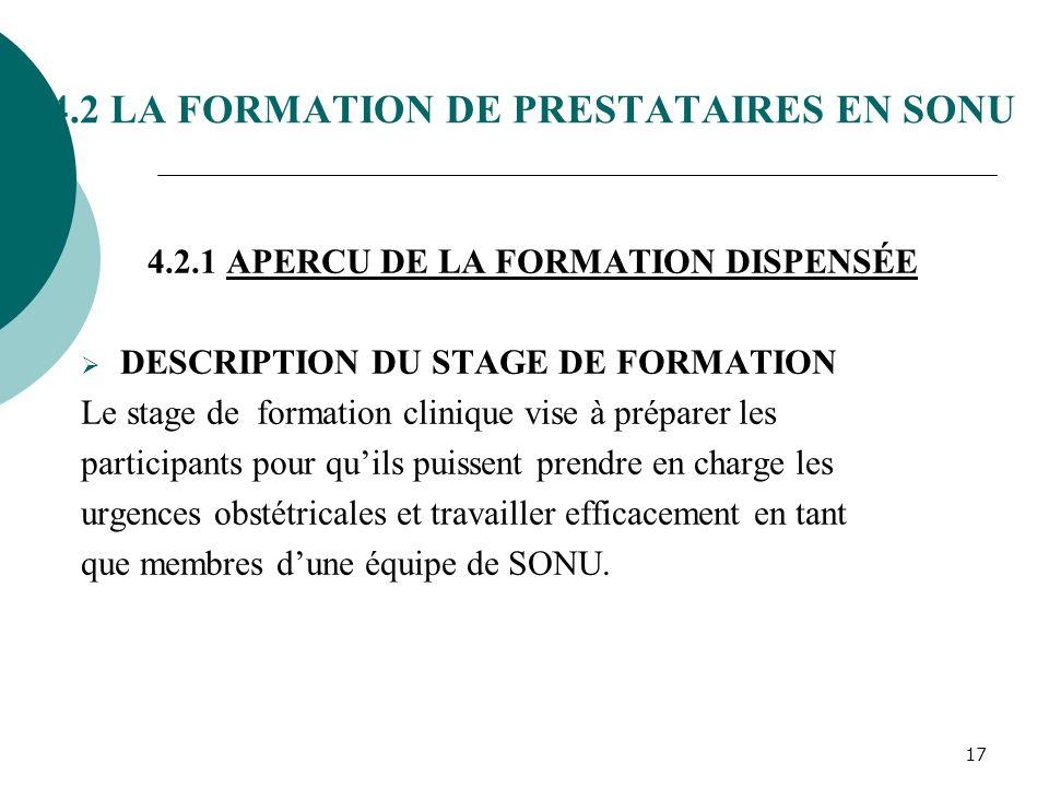 4.2 LA FORMATION DE PRESTATAIRES EN SONU