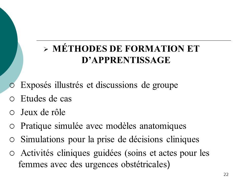 MÉTHODES DE FORMATION ET D'APPRENTISSAGE