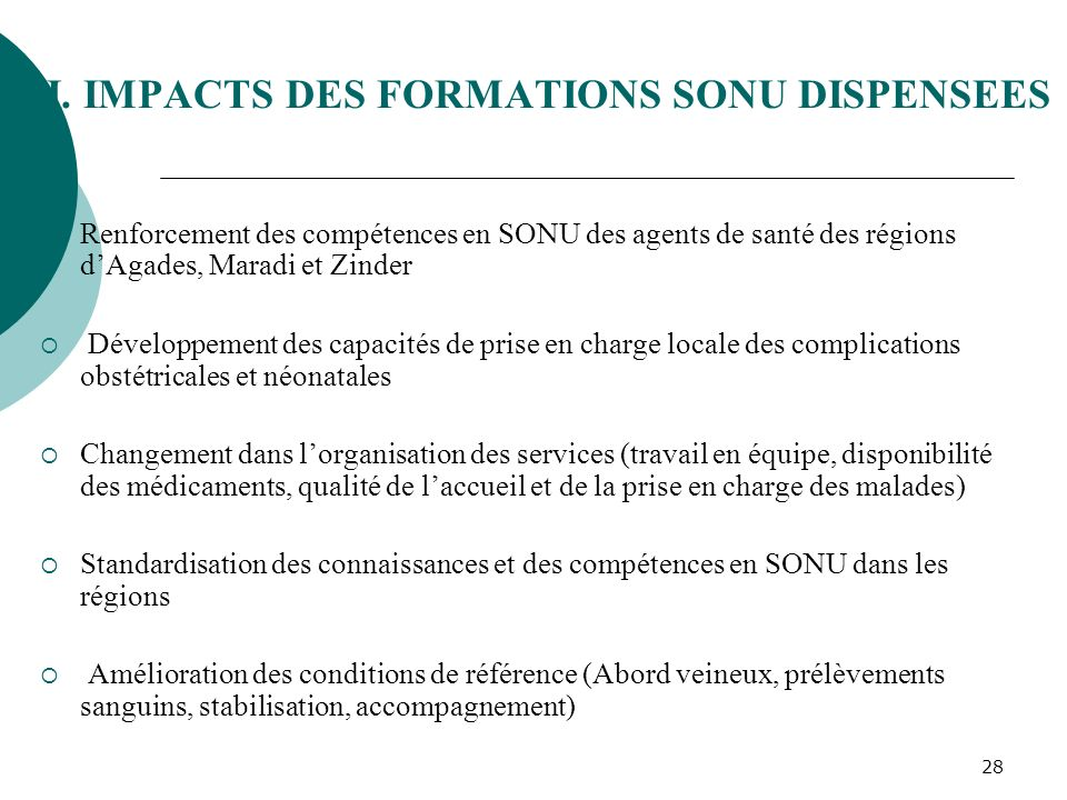 VI. IMPACTS DES FORMATIONS SONU DISPENSEES