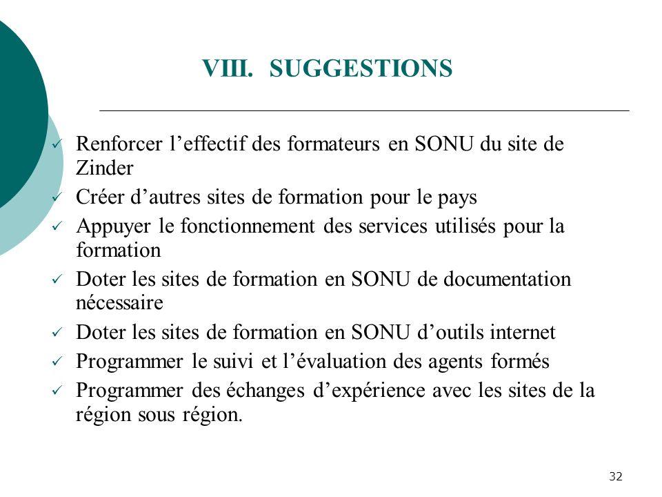 VIII. SUGGESTIONS Renforcer l'effectif des formateurs en SONU du site de Zinder. Créer d'autres sites de formation pour le pays.