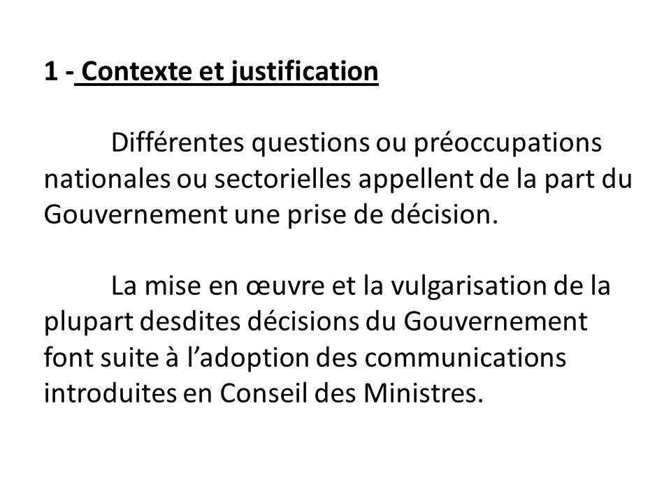 1 - Contexte et justification